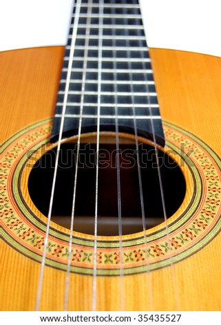 Close up of a handmade classical spanish guitar - stock photo