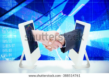 Close up of a handshake against stocks and shares