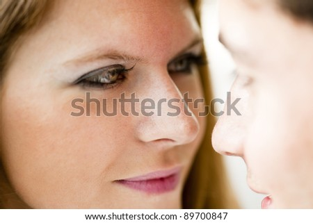 Close-up of a happy couple in love - stock photo