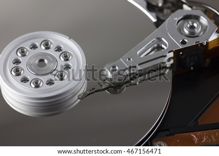 Close up of a hard disk