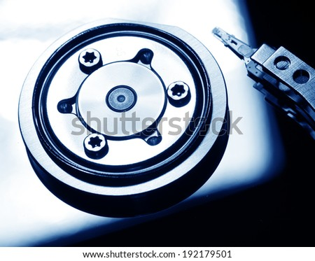 Close Up of a hard disk drive internals - stock photo