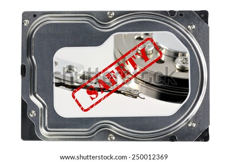Close-up of a hard disk on a white background, data saving concept  - stock photo