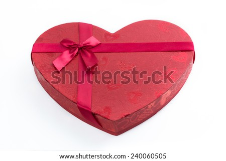 Close-up of a heart shaped gift box - stock photo