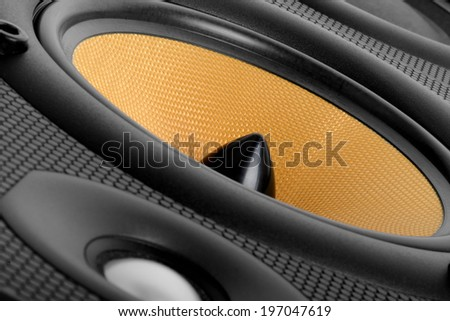 close up of A high end audio speaker  - stock photo