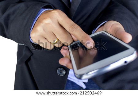 Close up of a human using mobile smart phone