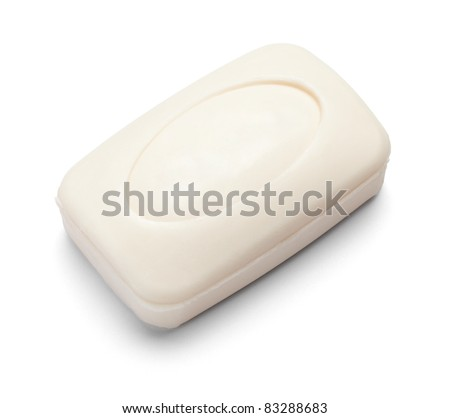 close up of  a hygiene soap on white background with clipping path - stock photo