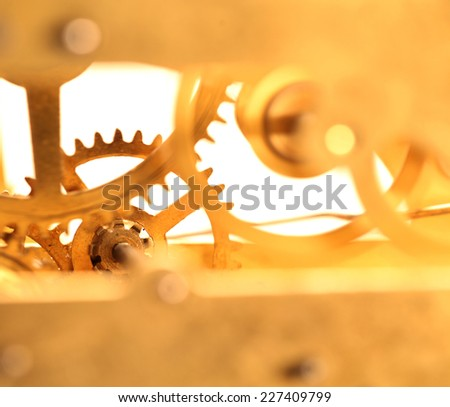 Close up of a internal clock mechanism - stock photo
