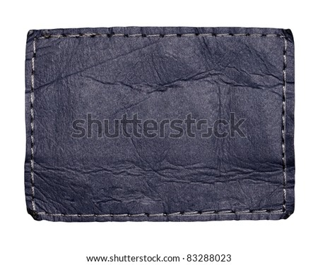close up  of a jeans label on white background with clipping path