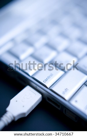 Close-up of a keyboard with USB - stock photo