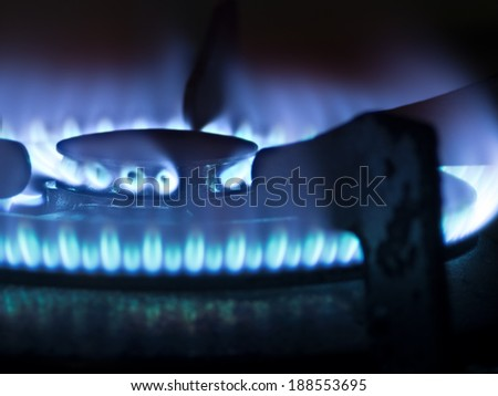 close up of a kitchen gas stove blue flame