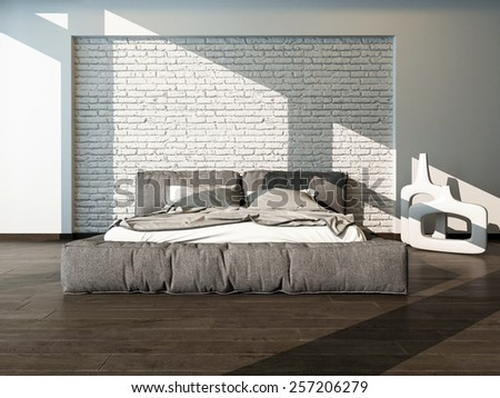 Close up of a large king size bed in a sunny bedroom with rumpled bed linen against a textured white brick wall, neutral tones. 3d Rendering. - stock photo