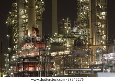Close-up of a large oil-refinery plant - stock photo
