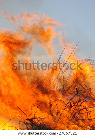 close-up of a large wildfire burning brush and debris - stock photo