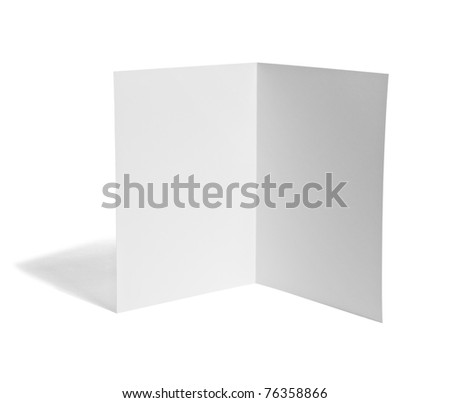 close up of a leaflet blank white paper on white background with clipping path - stock photo