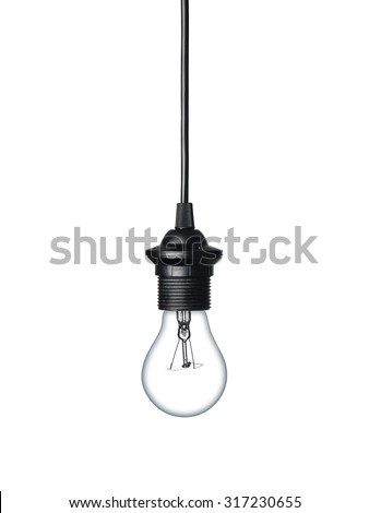 Close up of a light bulb hanging on the cable isolated on white background - stock photo