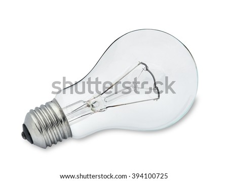 Close up of a light bulb isolated on white background with light shadow. The file includes an accurate clipping path. - stock photo