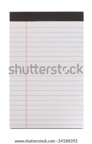 Close-up of a lined notepad, isolated on white background.