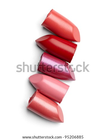 close up of a lipstick stack on white background - stock photo