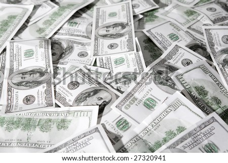 Close-up of a lot of American dollars - stock photo