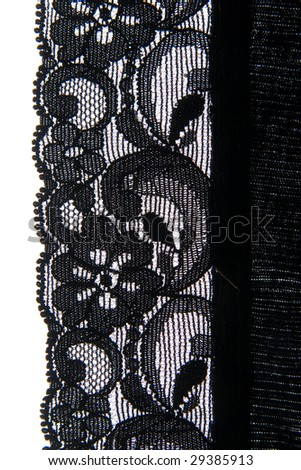 Close-up of a lovely bit of black lace, good for textures and backgrounds. - stock photo