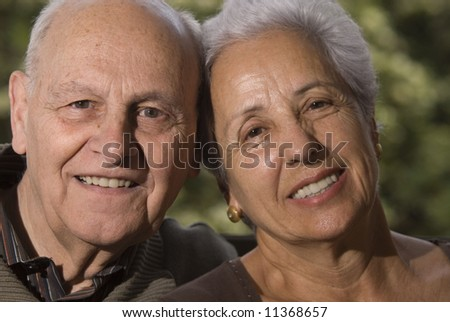 Close-up of a lovely senior couple - stock photo