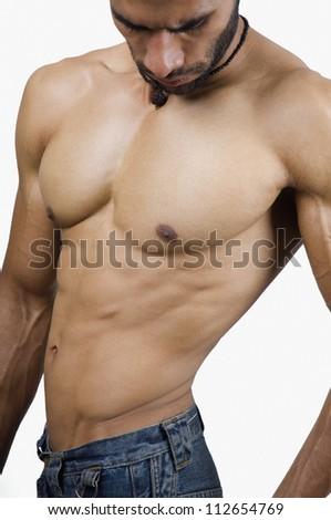 Close-up of a macho man - stock photo