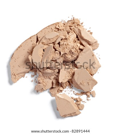 close up of  a make up powder on white background - stock photo