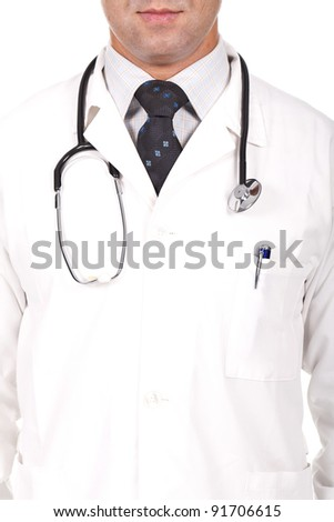 close up of a male doctor with a stethoscope on his neck - stock photo