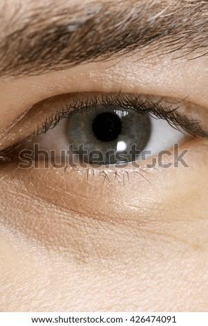 Close Up Of A Man Eye - stock photo