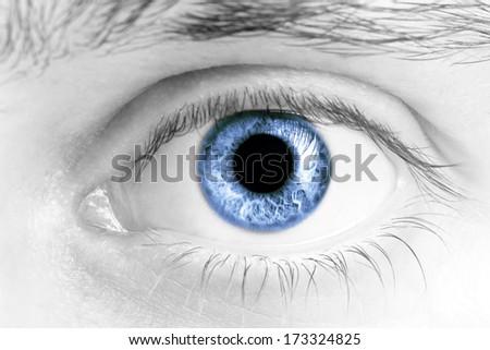 Close Up Of A Man Eyes, macro - stock photo