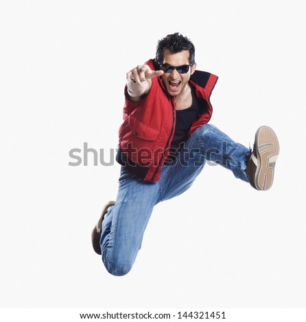 Close-up of a man jumping - stock photo