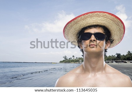 Close-up of a man on the beach