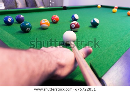 Close Mans Hand Arm Playing Pool Stock Photo Edit Now - Play pool table near me