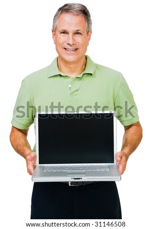 Close-up of a man showing a laptop isolated over white