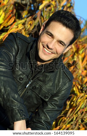 Close up of a man smiling - stock photo