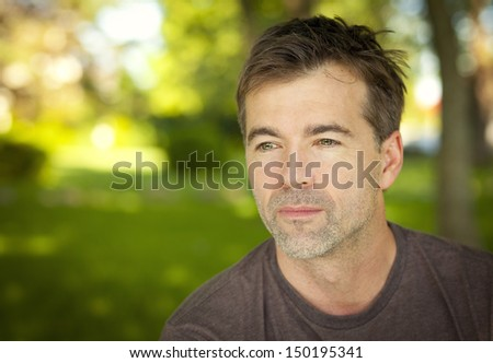 Close-up of a Man Thinking - stock photo