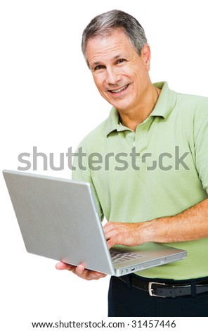 Close-up of a man working on a laptop isolated over white