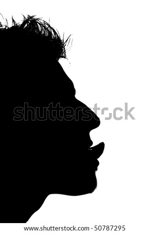 close-up of a mans face with tongue sticking out - stock photo