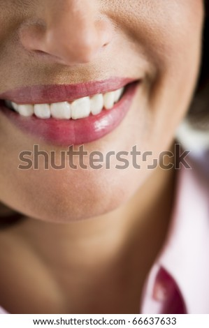 Close-up of a mature woman smile - stock photo
