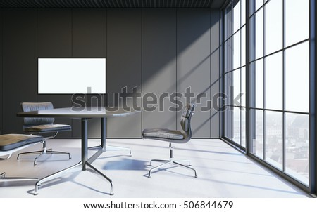 Close up of a meeting room in dark contemporary panoramic office. With empty screen tv on wall. 3D rendering