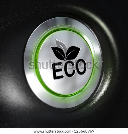 close up of a metallic eco button, green light, blur effect, automotive energy saving system concept. Black background - stock photo