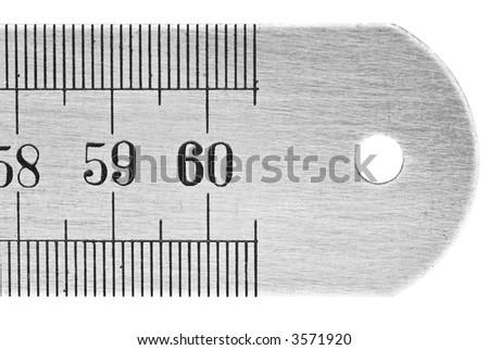 close up of a metallic ruler - stock photo