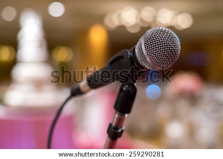Close-Up of a Microphone in the room - stock photo