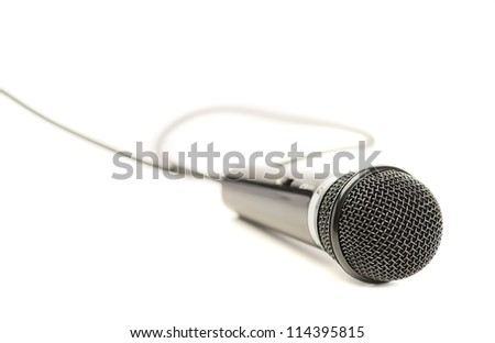 Close-up Of A Microphone Isolated On White Background - stock photo
