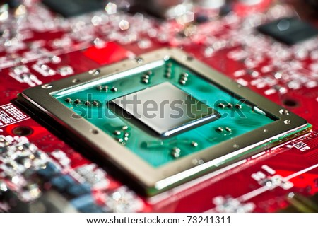 Close up of a microprocessor - stock photo