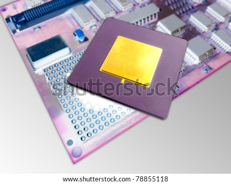 Close up of a microprocessor and socket - stock photo