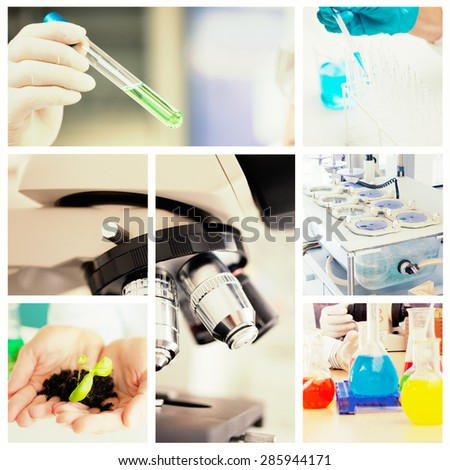 Close up of a microscope against scientists working in a laboratory - stock photo