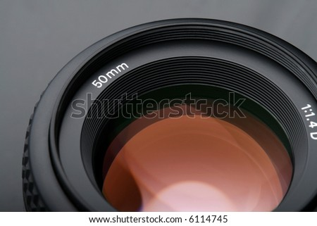Close-up of a 50mm camera lens
