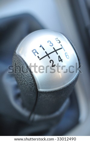 Close-up of a modern six speed manual gearshift (gear stick, gear shift) - stock photo