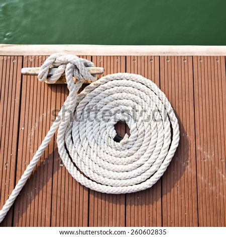 Close-up of a mooring rope. - stock photo